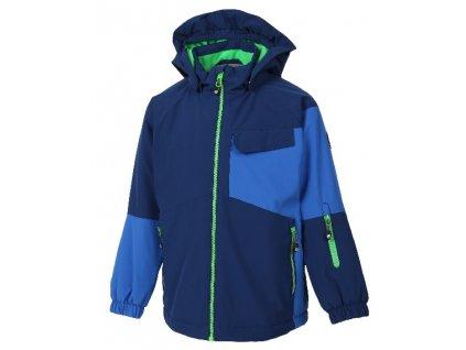 Kvalitní dětská lyžařská softshellová bunda s odnímatelnou kapucí a reflexními prvky Color Kids Debora estate blue v modré barvě