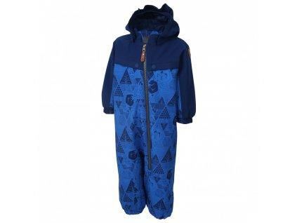 Kvalitní dětský zimní overal s odnímatelnou kapucí a reflexními prvky Color Kids Dolpa blue sea v modré barvě