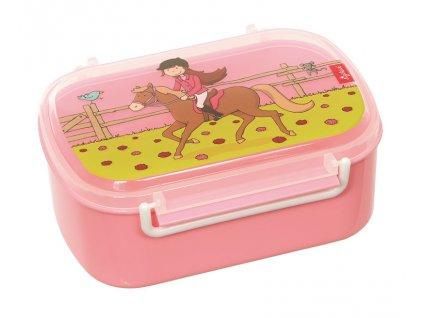 Kvalitní dětský plastový box na svačinu Sigikid Brands Gina Galopp - malá jezdkyně v růžové barvě