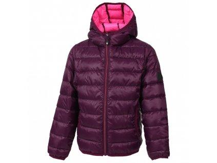 Kvalitní dětská zimní zateplená bunda s odnímatelnou kapucí a reflexními prvky Color Kids Dirico pickled beet ve vínové barvě