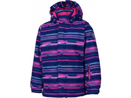 Kvalitní dětská zimní zateplená membránová lyžařská bunda s odnímatelnou kapucí a reflexními prvky Color Kids Donja sparkling cosmo ve fialové barvě