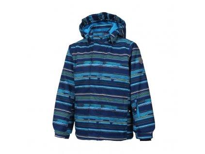Kvalitní dětská zimní membránová lyžařská bunda s odnímatelnou  kapucí a reflexními prvky Color Kids Dartwin hawaiian surf v modré barvě