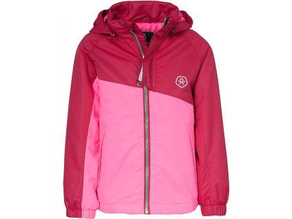 Kvalitní dětská zimní membránová bunda s odnímatelnou kapucí a reflexními prvky Color Kids Dahlia rasberry ve světle červené barvě