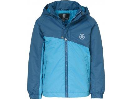 Kvalitní dětská zimní membránová bunda s odnímatelnou kapucí a reflexními prvky Color Kids Dahlia moroccan blue v modré barvě