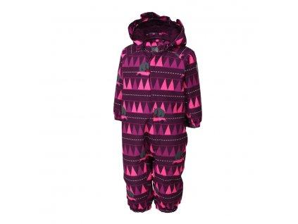 Kvalitní dětský zimní overal s odnímatelnou kapucí a reflexními prvky Color Kids Rimah pickled beet ve vínové barvě