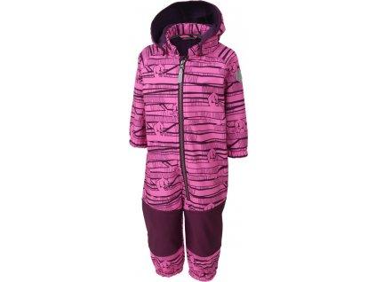 Kvalitní dětský zimní softshellový overal s odnímatelnou kapucí a reflexními prvky Color Kids Kajo phlox pink v růžové barvě