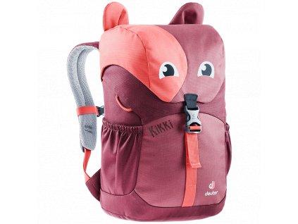 Kvalitní nylonový, komfortní a propracovaný batoh pro předškoláky Deuter Kikki cardinal-maron ve vínové barvě
