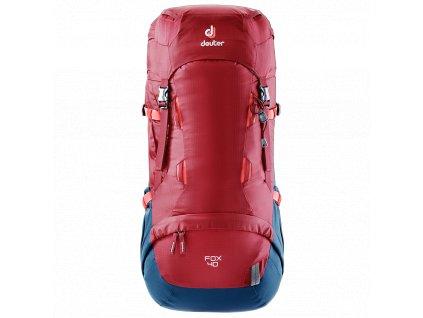Kvalitní nylonový, komfortní a propracovaný turistický batoh pro děti Deuter Fox cranberry-steel v červené barvě