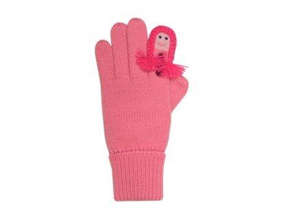 Dětské pletené rukavice růžové