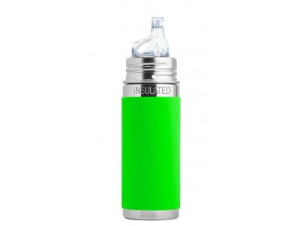Kvalitní termoska bez plastových částí s pítkem Pura Termo 260 ml v zelené barvě