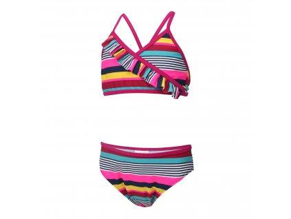 Kvalitní dívčí 2-dílné rychleschnoucí plavky s UV ochranou Color Kids Nilje Raspberry