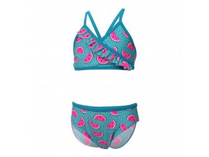 Kvalitní dívčí 2-dílné rychleschnoucí plavky s UV ochranou Color Kids Nilje Crystal Teal