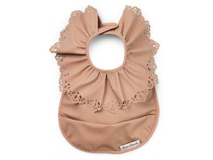 Kvalitní dětský bryndák s pogumovanou vrstvou bez PVC a kapsou Elodie Details - Faded Rose v hnědé barvě