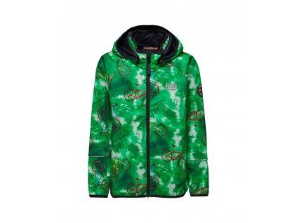 Kvalitní dětská zateplená jarní softshellová bunda s kapucí a reflexními prvky LEGO® Wear Siam v zelené barvě