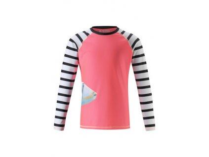 Kvalitní dětské plážové tričko s dlouhým rukávem a UV ochranou Reima Madagaskar Neon red v červené barvě