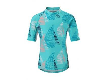 Kvalitní dětské plážové tričko s krátkým rukávem a UV ochranou Reima Ionian Bright turquoise v tyrkysové barvě