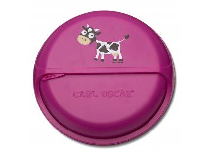 Kvalitní otáčecí krabička na svačinu SnackDisc ™ Carl Oscar® kravička ve fialové barvě