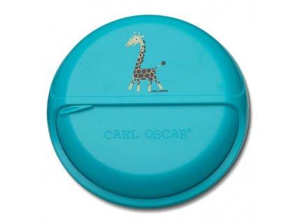 Kvalitní otáčecí krabička na svačinu SnackDisc ™ Carl Oscar® žirafa v tyrkysové barvě