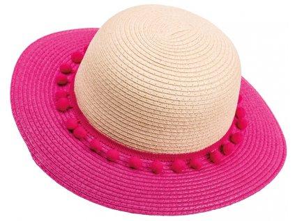 Dívčí klobouk Maximo s bambulkami