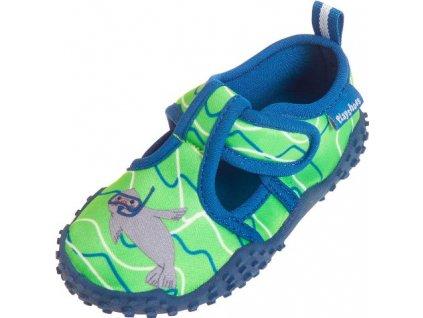 Kvalitní dětské lehké a prodyšné boty do vody Playshoes zelené s tuleněm