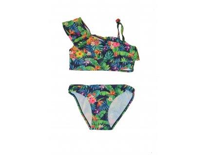 Dívčí dvoudílné plavky Losan modré s květy