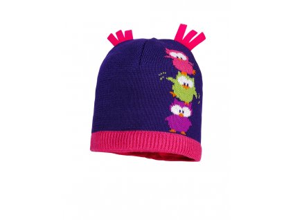 Dětská zimní čepice Maximo fialová - sovičky
