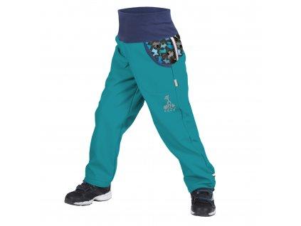 Unuo softshellové kalhoty s fleecem smaragdoví pejsci