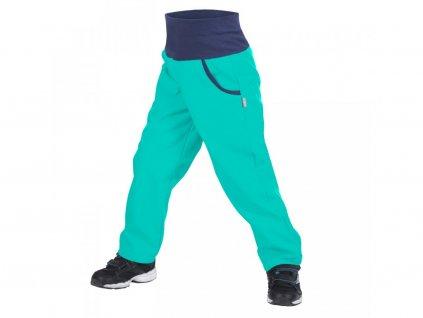 Unuo dětské softshellové kalhoty Basic smaragdové
