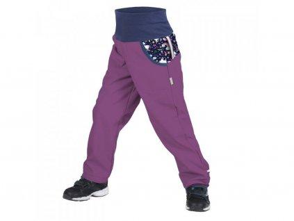 Unuo softshellové kalhoty s fleecem ostružinová jednorožci
