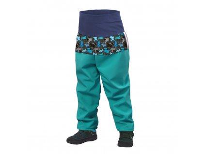 Unuo batolecí softshellové kalhoty s fleecem smaragdoví pejsci