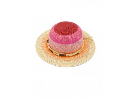 Dívčí letní klobouk Maximo růžový s korálky