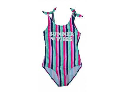 Dívčí jednodílné plavky Losan růžový proužek