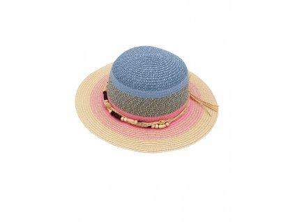 Dívčí letní klobouk Maximo modrý s korálky