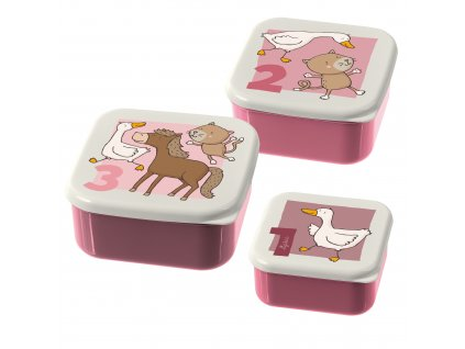3 dílná sada svačinových krabiček Sigikid růžová zvířátka