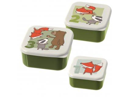 3 dílná sada svačinových krabiček Sigikid zelená zvířátka