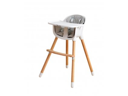 EcoViking HighChair 2 in 1 Beech Wood and White