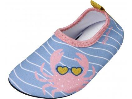 Boty do vody Playshoes bez zapínání růžové s krabem