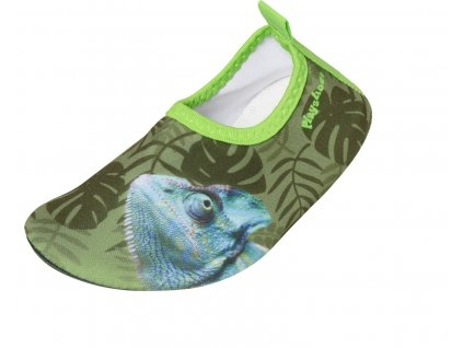 Boty do vody Playshoes bez zapínání zelené s chameleonem