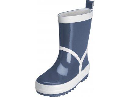 Kvalitní dětské gumáky z přírodního kaučuku se stahovací šňůrou Playshoes v  tmavě modré barvě