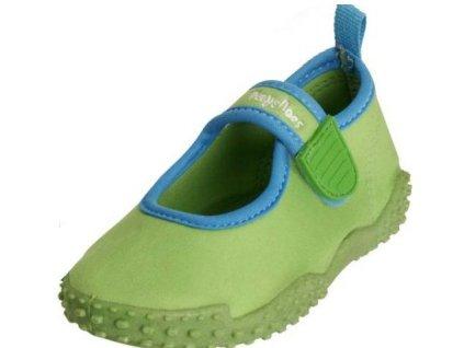 Kvalitní dětské lehké a prodyšné boty do vody Playshoes v zelené barvě