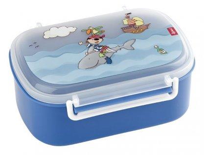 Kvalitní dětská plastová krabička na svačinu s druhou odjímatelnou krabičkou na ovoce Sigikid Sammy Samoa v modré barvě
