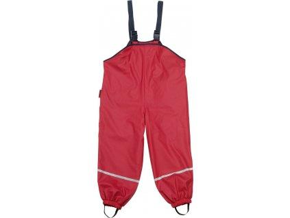 Kvalitní dětské nepromokavé kalhoty do deště s laclem Playshoes v červené barvě