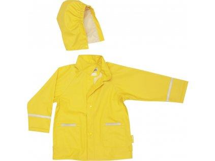 Kvalitní dětská nepromokavá jarní bunda (pláštěnka) s kapucí a reflexními prvky Playshoes ve žluté barvě