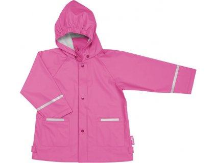 Kvalitní dětská nepromokavá jarní bunda (pláštěnka) s kapucí a reflexními prvky Playshoes v tmavě růžové barvě