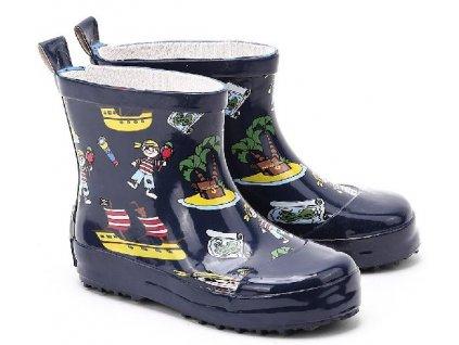 Kvalitní dětské nízké gumáky z přírodního kaučuku Playshoes Pirát v černé barvě