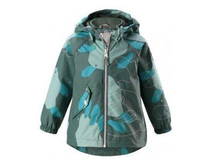 Kvalitní dětská nepromokavá bunda s membránou, kapucí a reflexními prvky Reima Forest - Soft green v tmavě zelené barvě