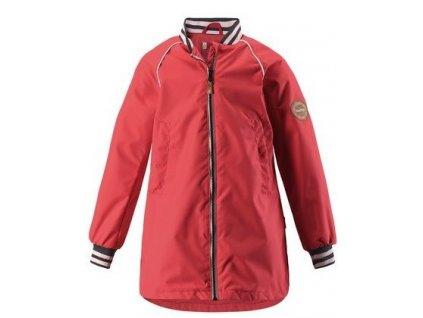 Kvalitní dětská dívčí nepromokavá jarní bunda s kapucí a reflexními prvky Reima Asteri - Bright red v červené barvě