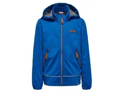 Kvalitní dětská zateplená jarní softshellová bunda s kapucí a reflexními prvky LEGO® Wear Sebastian 205 v modré barvě