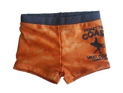Kvalitní chlapecké rychleschnoucí šortkové plavky s UV ochranou Losan West coast oranžové