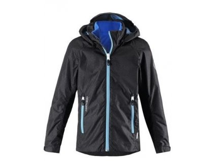 Kvalitní dětská nepromokavá bunda s membránou, kapucí a reflexními prvky Reima Travel - Black v černé barvě
